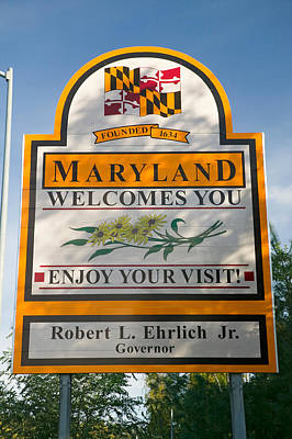 Maryland Photograph - State Of Maryland Welcomes You Sign by Panoramic Images