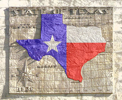 Relief Map Digital Art - State Of Texas Map 1 by Robert J Sadler