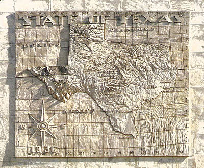 State Of Texas Map  Art Print by Robert J Sadler