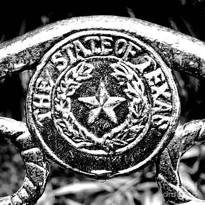 The Lone Star State Digital Art - State Of Texas Seal And Lone Star On Iron Fence After Rain Square Format Bw Conte Crayon Digital Art by Shawn O'Brien