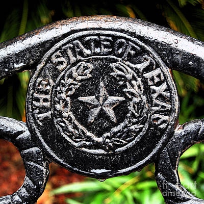 The Lone Star State Digital Art - State Of Texas Seal And Lone Star On Iron Fence After Rain Square Format Ink Outlines Digital Art by Shawn O'Brien