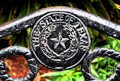 The Lone Star State Digital Art - State Of Texas Seal And Star On Iron Fence After Rain Ink Outlines Digital Art by Shawn O'Brien