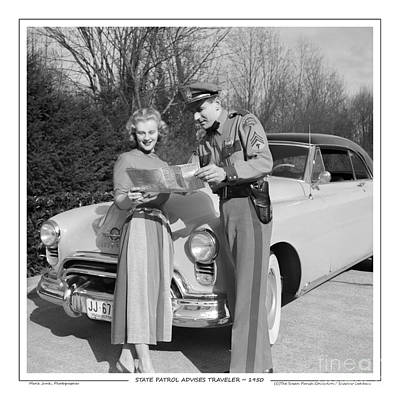 Photograph - State Patrolman Assists Young Woman Traveler 1951 by Merle Junk
