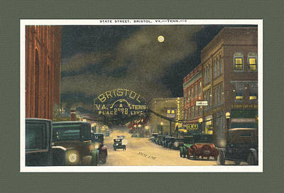 State Street Bristol Va Tn At Night Art Print by Denise Beverly