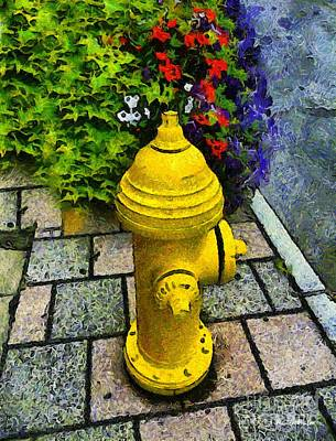 Fire Hydrant Painting - State Street Sentinel by RC deWinter