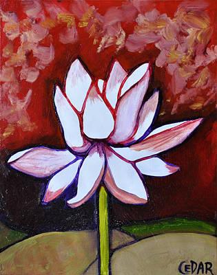 Lotus Bud Painting - Stately Lotus by Cedar Lee
