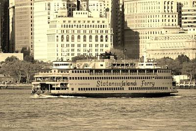 Photograph - Staten Island Ferry In Sepia by Rob Hans