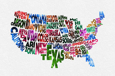 Painting - States Of United States Typographic Map by Ayse Deniz