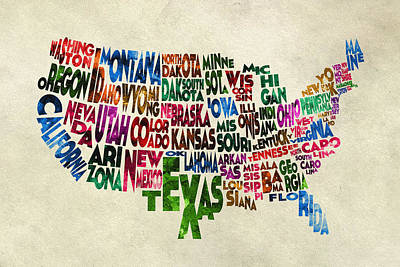 Vintage Map Digital Art - States Of United States Typographic Map - Parchment Style by Ayse Deniz