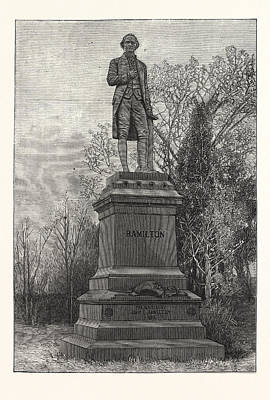 Historic Statue Drawing - Statue Alexander Hamilton, Central Park by American School