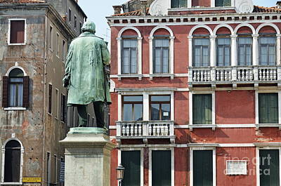 Statue And Building Facade Art Print by Sami Sarkis
