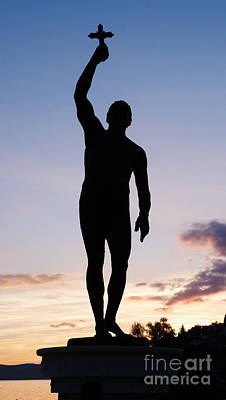 Photograph - Statue By Lake Ohrid At Sunset by Phil Banks
