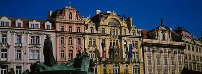Statue In Front Of Buildings, Jan Hus Print by Panoramic Images