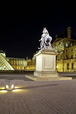 Statue In Front Of The Musee Du Louvre Art Print