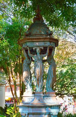 Statue In The Garden Art Print