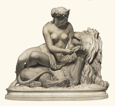 Statue Woman And Lion Art Print by Private Collection