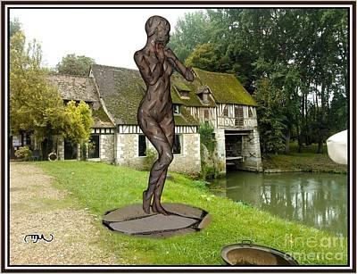 Statue Portrait Digital Art - Statue Listening Echo Through Time Slett1 by Pemaro