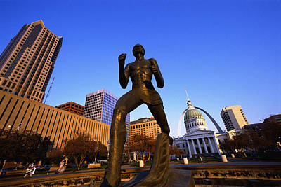 Statue Near Old Courthouse St Louis Mo Art Print by Panoramic Images