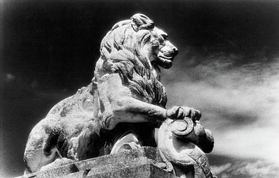 Photograph - Statue Of A Lion, Arles City Gates, Provence, France by Simon Marsden