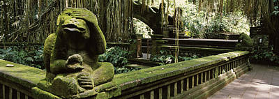 See No Evil Photograph - Statue Of A Monkey In A Temple, Bathing by Panoramic Images