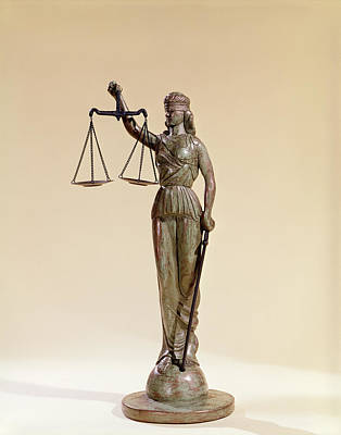 Statue Of Blind Justice Holding Scales Art Print