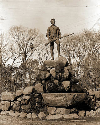 Lexington Drawing - Statue Of Capt. Parker, Lexington, Mass, Parker, John by Litz Collection
