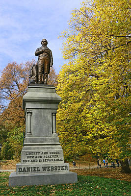 Concord Center Photograph - Statue Of Daniel Webster - Central Park by Allen Beatty