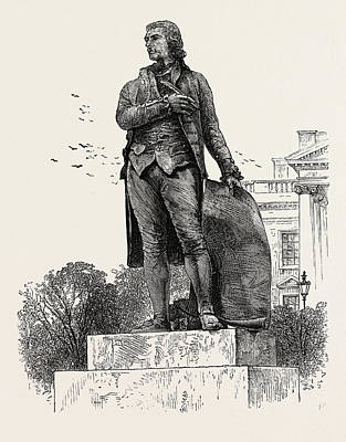 Historic Statue Drawing - Statue Of Jefferson In Front Of The White House by American School