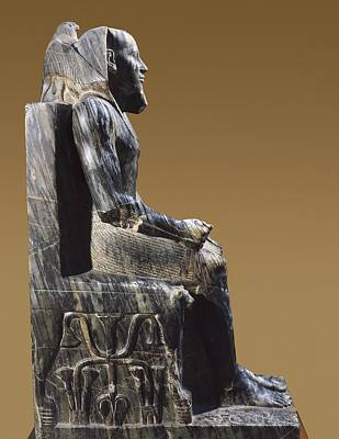 Statue Portrait Photograph - Statue Of Khafre Enthroned. 2520 Bc by Everett