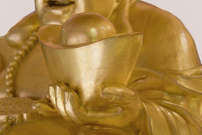 Statue Of Laughing Buddha Holding Gold Art Print by Keren Su