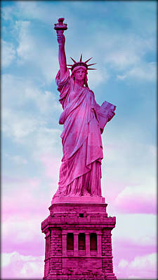 Torch River Photograph - Statue Of Liberty - Pink by Stephen Stookey