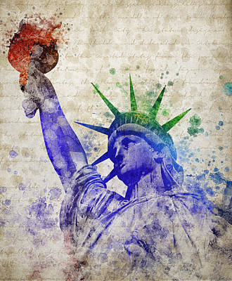 Cities Mixed Media - Statue Of Liberty by Aged Pixel