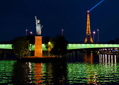 Photograph - Statue Of Liberty And Eiffel Tower In Paris by Mitchell R Grosky