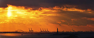 Statue Of Liberty At Sunset. Art Print