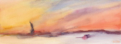 Office Wall Painting - Statue Of Liberty At Sunset Watercolor Painting Of New York by Beverly Brown
