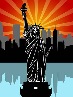 Sun Photograph - Statue Of Liberty Black And White Illustration by David Gn