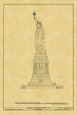 Photograph - Statue Of Liberty Blueprint 2 by Andrew Fare