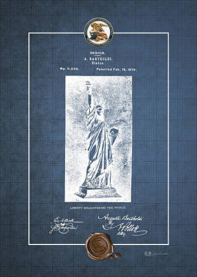Statue Of Liberty By A. Bartholdi - Vintage Patent Blueprint Art Print by Serge Averbukh
