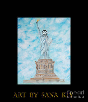 Painting - Statue Of Liberty Card. Inspirations Collection. by Oksana Semenchenko