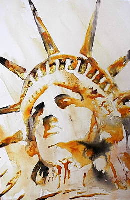 Statue Of Liberty Mixed Media - Statue Of Liberty Closeup by J- J- Espinoza
