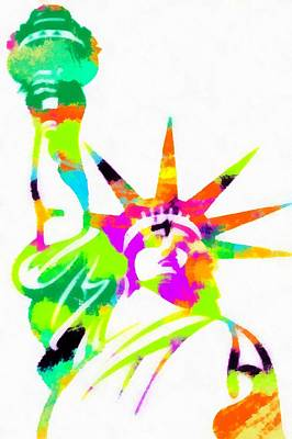 Painting - Statue Of Liberty Colorful Abstract  by Eti Reid