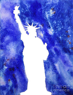 Justice Painting - Statue Of Liberty Cool Silhouette by Ryan Fox