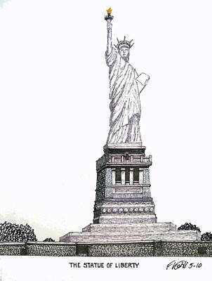 Pen And Ink Historic Buildings Drawings Drawing - Statue Of Liberty by Frederic Kohli