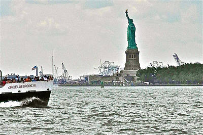 Ferry In New York Photograph - Statue Of Liberty From Battery Park In New York City-ny by Ruth Hager