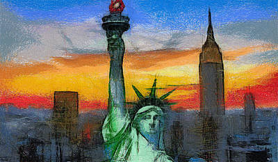 Painting - Statue Of Liberty At Sunset by Georgi Dimitrov