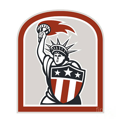 Kitchen Mark Rogan - Statue of Liberty Holding Flaming Torch Shield Retro by Aloysius Patrimonio