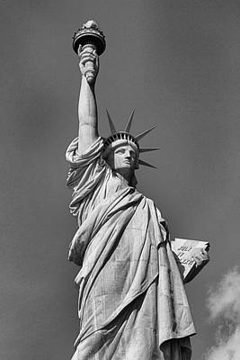 Statue Of Liberty In Black And White Art Print
