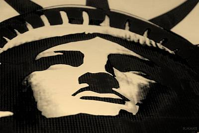 Statue Of Liberty In Dark Sepia Print by Rob Hans
