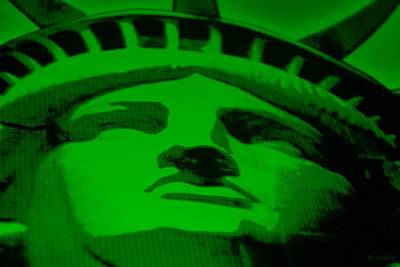Mixed Media - Statue Of Liberty In Green by Rob Hans