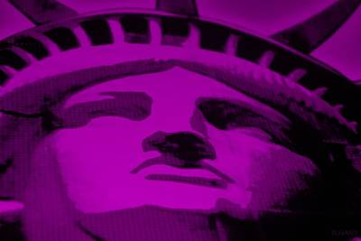 Fuschia Mixed Media - Statue Of Liberty In Purple by Rob Hans